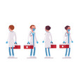 male and female doctor standing with red box vector image