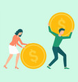 man and woman attracting and accumulating capital vector image vector image