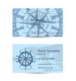 nautical company business card layout vector image vector image