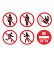 no entry icon set people sign men vector image vector image