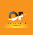 of o f letter modern logo design with yellow vector image vector image