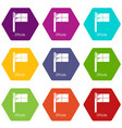 offside icons set 9 vector image