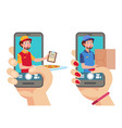 online delivery app man with parcel and pizza vector image