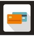 Orange and blue credit card icon flat style vector image