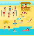 people are resting on beach summer vacation vector image