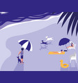 people in tropical beach seascape vector image