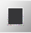 photo frame with confetti vector image vector image