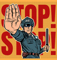 police officer stop gesture vector image vector image