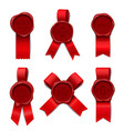 red ribbon stamps collection vector image