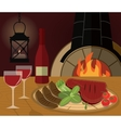 Romantic dinner with a grilled steak vegetables vector image vector image