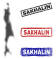 sakhalin island map in halftone dot style with vector image vector image