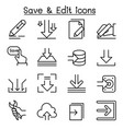 save edit data icon set in thin line style vector image