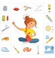 Seamstress girl and sewing tools line vector image vector image