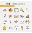 seo and development thin line icons vector image