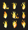 set of animation fire and variou vector image vector image