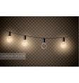 set of light bulbs garlands on transparent vector image