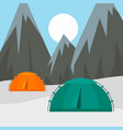 tents in mountains background flat style vector image vector image
