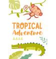 tropical adventure travel poster design vector image