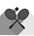 two tennis racket with ball sign black vector image vector image