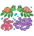 various cute sea animals collection vector image vector image