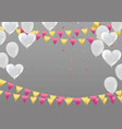 White background with balloons and heart balloons