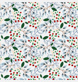 winter pattern with branches and berries vector image vector image
