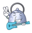 with guitar whistling kettle cartoon on the stove vector image vector image