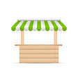 wooden market stand stall with green and white vector image vector image