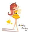 Young girl in costume bee vector image vector image
