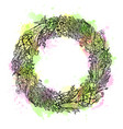 watercolor hand drawn wreath of flowers vintage vector image