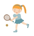 Cute little girl playing tennis vector image