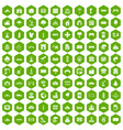 100 landscape element icons hexagon green vector image vector image