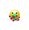 3d cartoon bubble emoticon with medical mask face vector image vector image