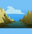 a landscape a river in middle two big vector image vector image