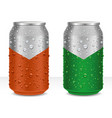 aluminum cans in with fresh water drops