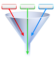 An image of a three stage funnel chart vector | Price: 1 Credit (USD $1)