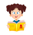 back to school cute schoolgirl reading book vector image vector image