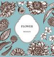 badge over design with poppy flower gerbera vector image