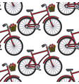 Bicycle with flower basket seamless pattern french