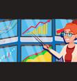 broker female stock-market broker charts vector image