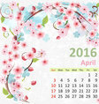 Calendar for 2016 April vector image