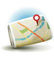 cartoon city map icon with gps pin vector image