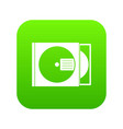 cd box with disc icon digital green vector image