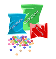 Colorful Chocolate Candies with Three Plastic Bags vector image vector image