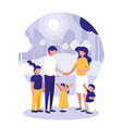cute family in park scene natural vector image
