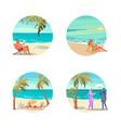 dream scene with beautiful beach in round design vector image vector image