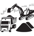 excavator loads dump truck at construction site vector image vector image