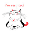 funny cat on a white vector image