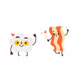 funny smiling fried egg and bacon strip character vector image