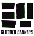 glitched banners vector image